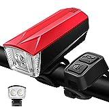 Luz delantera LED USB recargable bicicleta bicicleta de montaña mini luz brillante bicicleta luz 350 lúmenes, 4 modos de luz, rojo