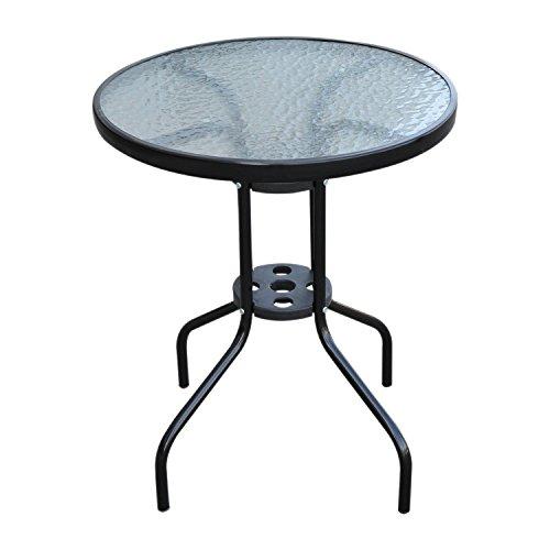Outsunny Tavolo Tavolino Rotondo con Piano da Giardino in Vetro Temperato Φ60 x 70cm Nero