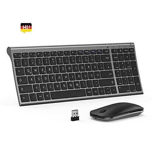 Tastatur Maus Set Kabellos, Ultra-Dünne Kompakte Kabellose Tastatur mit Ziffernblock und Leise Funkmaus(Beide sind wiederaufladbar), QWERTZ Deutsches Layout für PC/Laptop/Smart TV usw, Space Grau