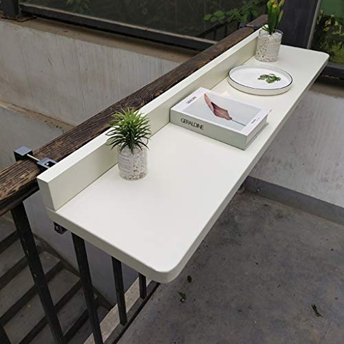 Balcony Hanging Table Folding Aluminum Alloy Adjustable Wall-Mounted Table Railing Patio Railing Home Little Dining Table Bar Laptop Table White