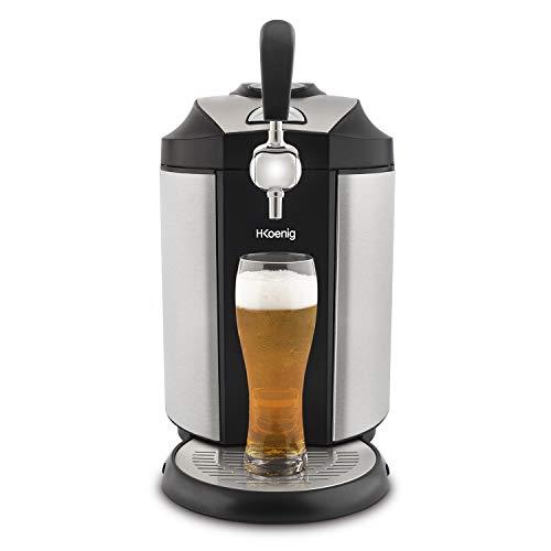 H.KOENIG BW1890 Dispensador de Cerveza, Temperatura Ajustable 2º C y 12ºC, Panel Digital de Control, Barril Universal 5 L y Barril Heineken, Potencia 65 W, Sistema Refrigeración Integrado