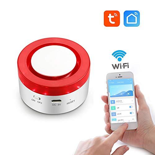 aixi-SHS Smart Wi-Fi 433Mhz Sirena estroboscópica Alarma de Seguridad en el hogar-Tiempo de Brazo/Brazo de Inicio/desarmar Ajustar la Hora alarmante-TuyaSmart/Smart Life App Control.