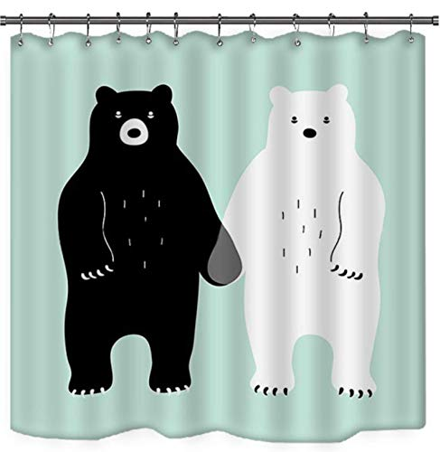 JOVEGSRVA Cortinas de ducha de oso de dibujos animados, impermeables, cortina de baño a prueba de moho, cortina de baño con 12 ganchos, 180 x 180 cm