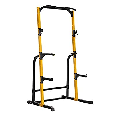DOIT Power Rack Cage, Multi-Function Power Rack Squat Stand for Barbell Crossfit & Weightlifting, with J-Hooks,Pull Up Bar,Barbell Holder,800LBS Weight Capacity