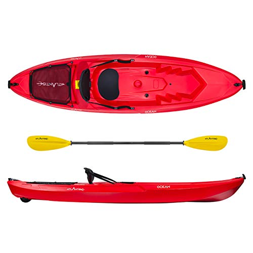 ATLANTIS Kayak-Canoa Ocean Rosso - cm 266 - schienalino - ruotino - pagaia