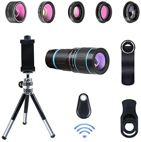 Cell Phone Lens 6 in 1 Phone Camera Lens Kits with 18X Zoom Telescope Lens, Fisheye, Macro, Wide Angle, Kaleidoscope, CPL Lens, Tripod Clip-On Lens for iPhone X XS Max 8 7 6 Plus Samsung Google Pixel