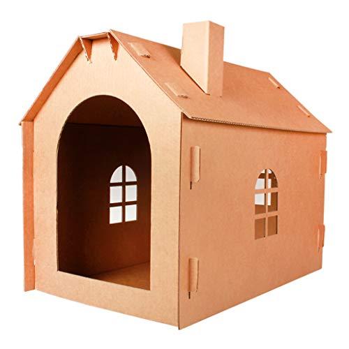 Lazder Katzenhaus aus Pappe für Haustiere, Katzen, Möbel, Kratzer, Schlafhaus und Bett