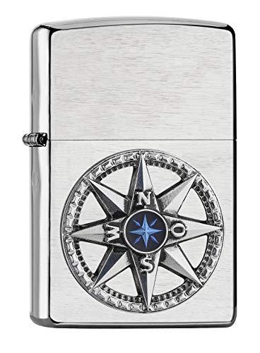 Zippo – Kompass Emblem, Chrome Brushed– Benzin Sturm-Feuerzeug, nachfüllbar, in hochwertiger Geschenkbox, silber, normal, 2007132