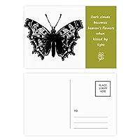 黒の蝶の標本 詩のポストカードセットサンクスカード郵送側20個