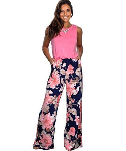 Longwu Mujeres Casual Sin Mangas Mono Flor Impresa Pantalones Anchos d