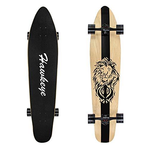 Hawkeye Longboard Skateboard, Cruiser Longboard 42-Inch 8 Ply Artisan Bamboo and Maple Longboard,...