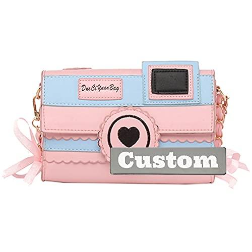 Nombre Personalizado Bolsa de Mensajero para niñas para la Escuela Nylon Crossbody Bolss Viajes Nylon (Color : Pink, Size : One Size)