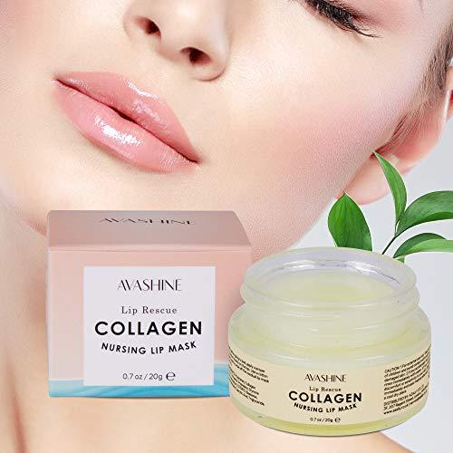 Avashine, maschera da notte con peptidi di collagene, idratante per la cura delle labbra