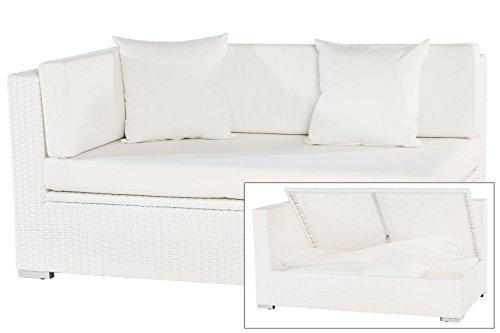OUTFLEXX Exklusives 2-Sitzer Ecksofa aus hochwertigem Polyrattan in weiß mit Kissenbox-Funktion, 145 x 85 x 70 cm, Armlehne rechts, inkl. weiche Kissen Polster, Lounge-Sofa, Gartencouch, wetterfest