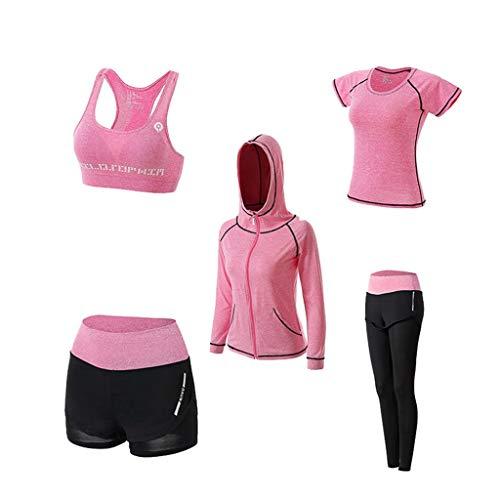 WanYangg Conjunto de ropa de deporte para niña, mallas y mallas para mujer, para hacer deporte, para correr, entrenar, fitness, pantalones elásticos. 5 unidades. L