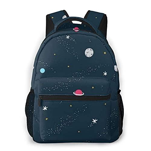 Lawenp Mochila Unisex de Moda Moon UFO Cartoon Rocket Space Bookbag Ligero para portátil para Viajes Escolares Acampar al Aire Libre