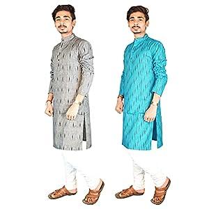 Riyashree Cotton Men's Straight Long Kurta for Men Latest Traditional Ikat Pattern Design Combo (Pack of 2) 002 006