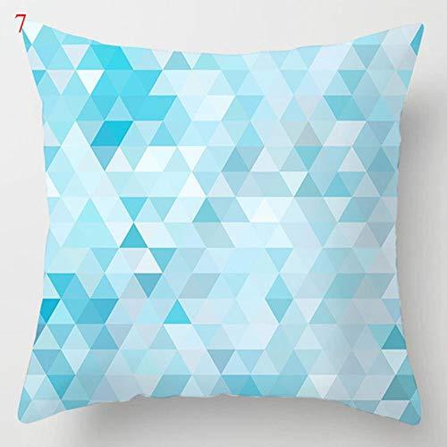 Funda de cojín de sofá geométrico de mármol azul lago funda de almohada decorativa de poliéster para decoración del hogar, funda de almohada 45 x 45 cm - 7