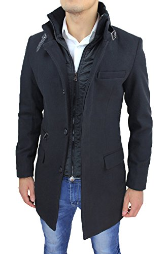 Cappotto Uomo Nero Sartoriale Casual Elegante Slim Fit Giaccone Soprabito Invernale con Gilet Interno (M, Nero)