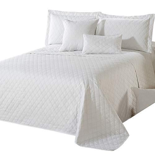 Delindo Lifestyle Tagesdecke Bettüberwurf Premium WEIß, für Doppelbett, einfarbig für Schlafzimmer, 220x240 cm