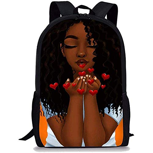 Beating Heart Sac à Dos Scolaire pour Enfants Filles école Primaire garçons Filles Afro-américaines Imprimer