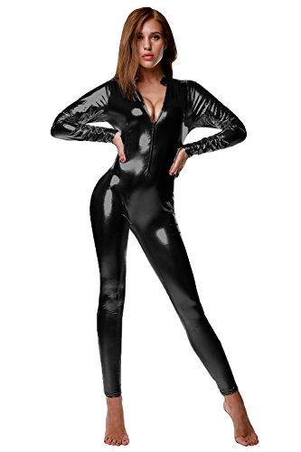 NIliker Women's Shiny Liquid Metallic Wet Look Zipper Front Catsuit (Medium, LYY078 Black)