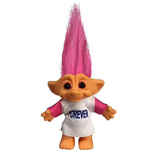 Yintlilocn Lucky Troll Dolls,Vintage Troll Dolls Chromatic Adorable for Collections, School Project, Arts and Crafts, Party Favors - 7.5' Tall Pink Hairs(Include The Length of Hair)