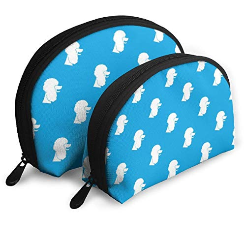 XCNGG Poodle Dog Bolsas portátiles azules Bolsa de embrague Monedero Bolsa de almacenamiento de viaje cosmético OneBig y OneSmall 2Pcs Papelería Lápiz Bolsa multifunción Cartera para niños Estuche par