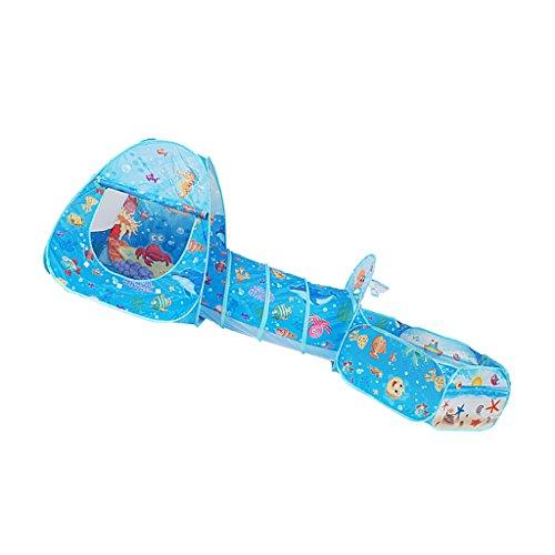 D DOLITY Casa de juegos 3 en 1 para niños, tienda de campaña y piscina de bolas, piscina y túnel de jardín, juguete para exteriores, portátil y plegable