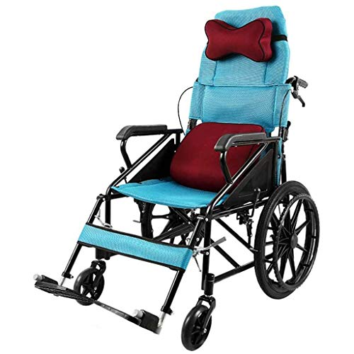 N/Z Daily Equipment Wheelchair High Backrest Folding Lying Down Self Propelled Trolley with Neck Pillow/Pillow Elderly Rehabilitation Chair Disabled Mobility Blue