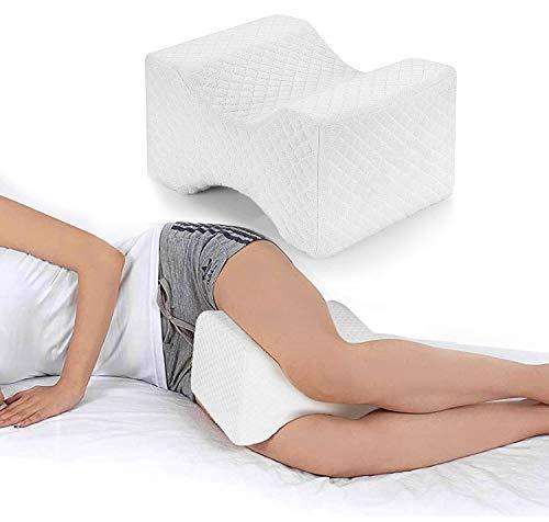 Almohada Piernas Dormir,Almohada Rodillas Ergonomica para Durmientes de Lado Cojín Ortopédico con Almohada Espuma Memoria para Alivia el Dolor en la Espalda,Caderas y Ciática Knee Pillow (White)