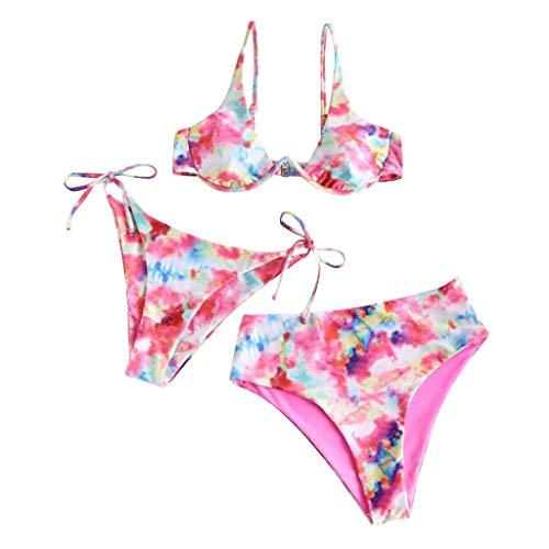 Lencería Traje de Baño con Estampado de Bikini para Mujer Lencería Traje de Baño con Sujetador Relleno de Tres Piezas Ropa de Playa