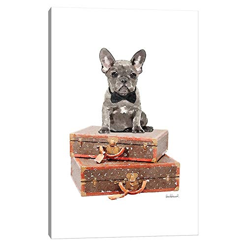 iCanvas GRE236 Luggage Grey Frenchie Canvas Print by Amanda Greenwood, 26' x 18' x 0.75' Depth Gallery Wrapped