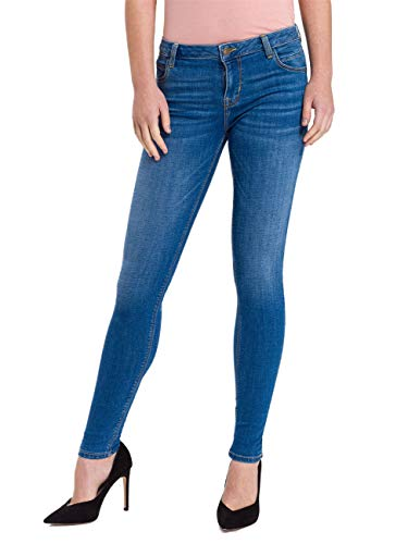 Cross Jeans Damen Push Up Jeans Page - Super Skinny Fit - Blau - Mid Blue, Größe:W 26 L 30, Farbe:Mid Blue (005)