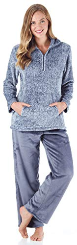 Sleepyheads Women's 1/4 Zip Fleece Pullover with Pocket 2-Piece Loungewear PJs (SH1143-4065-MED) Light Blue, Medium