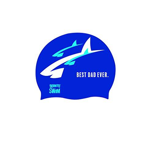 BOR NTO Swim Adulti in Silicone Nuoto di Best Dad Ever Padre Giorno Cuffia da Nuoto, Blu, Taglia Unica