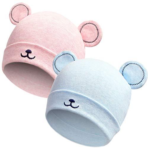 CMTOP - Gorra para bebé unisex de algodón con oso para orejas de 0 a 6 meses, gorro suave para cumpleaños, Navidad, día de San Valentín Rose&bleu One Size Unique