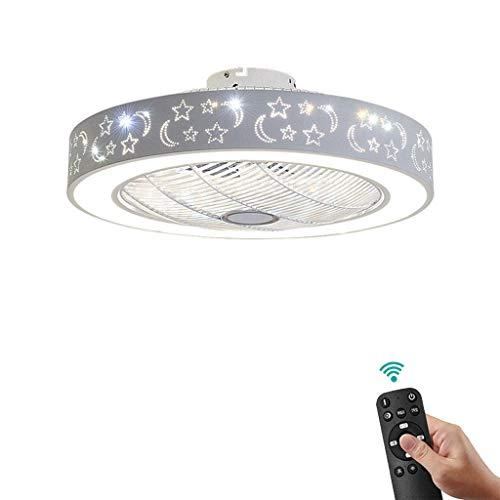LQH Deckenventilator mit Beleuchtung LED 3-Farben-Temperatur Dimmbare mit Fernbedienung Deckenleuchte, 3 Geschwindigkeitsstufen und Deckenventilator mit Winter-Sommer-Funktion ultraleise, 60CM, 52cm