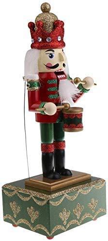 XWYYYH Musica di Legno 32CM di Natale in Legno Batterista Schiaccianoci Ritmo di Batteria con la Musica Wind Up Toy Music Box Christmas Party Ornamento Y6Y8H3