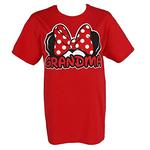 Disney Womens Minnie Mouse Mom Fan T Shirt (Large (12-14), Red)