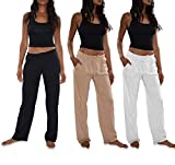 Sexy Basics Women's 3 Pack Soft Flex-Cotton Knit Pajama Pants/Lounge Pants/Sleep Pants (3 Pack-Black/White/Khaki, X-Large)