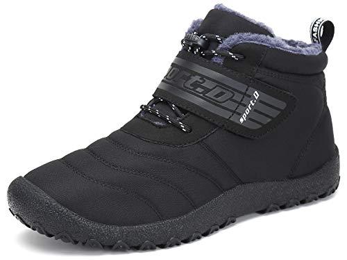 SAGUARO® Herren Damen Winterschuhe Warm Gefüttert Winter Stiefel Kurz Schnür Boots Schneestiefel Outdoor Freizeit Schuhe (43 EU, Upgraded Schwarz)