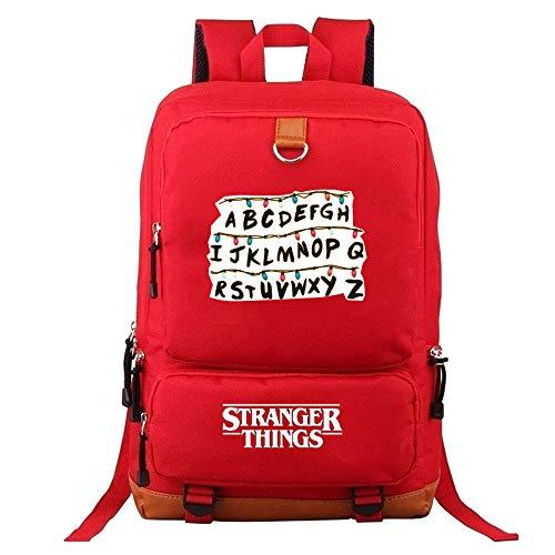 Stranger Things School Backpack for Kids Teenager Stranger Things Alphabet Printed School Bag Men Travel Rucksacks Laptop Backpack Book Bags Daypacks Stranger Things Merchandise (red-B)