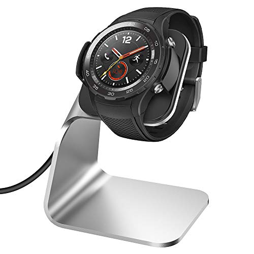 KIMILAR Ladegerät Kompatibel mit Huawei Watch 2 / Watch 2 Pro Ladekabel (Nicht für Classic), Aluminium USB Ladestation Cradle Dock für Watch 2/Pro, Porsche Design Smartwatch (Silber)