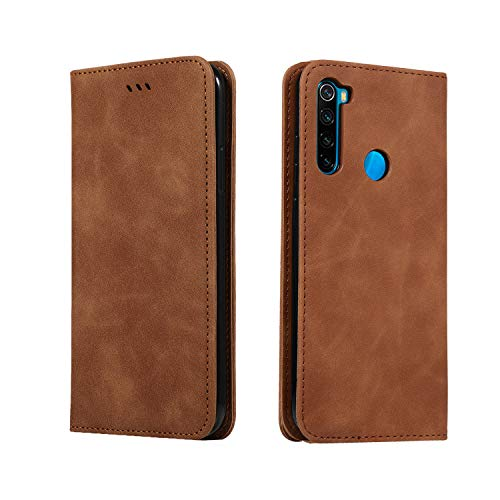 GoodcAcy Hülle Kompatibel mit Redmi Note 8T + Panzerglas Leder Flip Schutzhülle Handy Lederhülle Tasche Klapphülle für Redmi Note 8T Brown