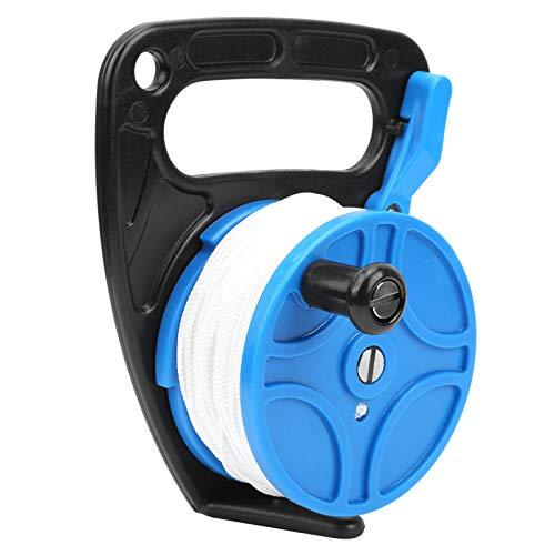 01 Carrete de Buceo de 83 Metros, Carrete de Buceo Carrete de Buceo de 289 pies ABS + Carrete de Buceo portátil Duradero de plástico con Mango para esnórquel para Buceo a la Deriva(Blue)