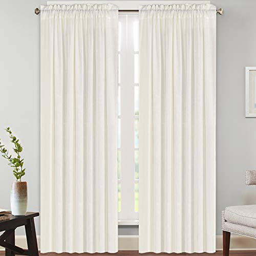Natural Rich Linen Curtains Semi Sheer for Bedroom/Living Room/Dining   Rod Pocket Textured Flax Window Curtain Drapes Privacy Added Light Reducing Soft Curtains 2 Panels (Ivory, 52\' W x 96\' L