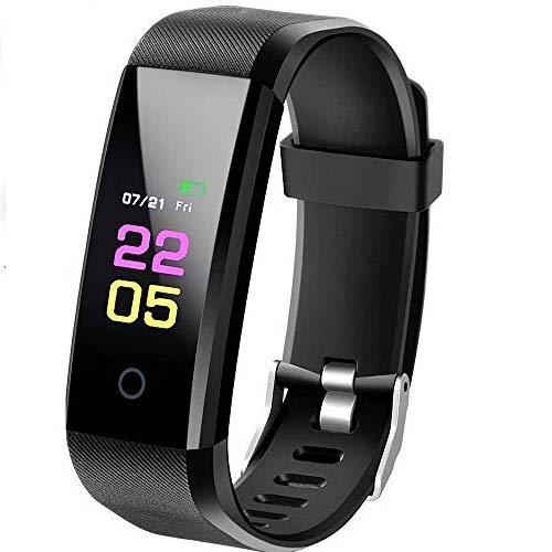 Fitness Armband mit Pulsmesser, IP67 Wasserdicht Smart Fitness Tracker, 0.96 Zoll Farbbildschirm Aktivitätstracker Blutdruckmessung Schrittzähler Uhr Smart Watch für Herren Damen MEHRWEG