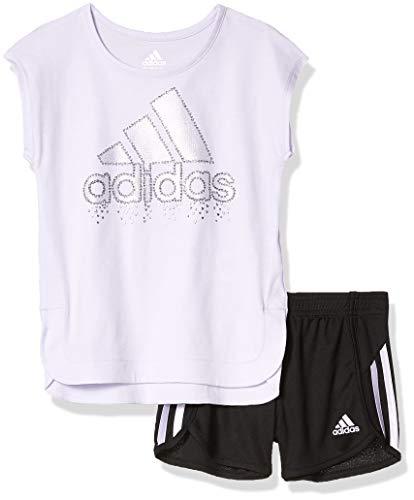adidas Girls' Toddler Sleeve Tee & Sport Short Clothing Set, Light Purple, 3T