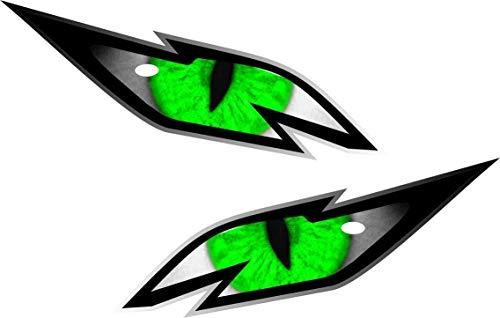 Paar boze draak ogen met groene iris vinyl drone motorhelm auto sticker Decal 75x30mm elk
